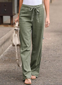 Buy New Wide Leg Pants for Women and Print Bow Sash High Waist Wide Leg Pants for Ladies and Cotton Linen Long Trousers Loose Pants