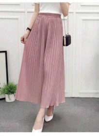 Summer New Wide Leg Pants For Women's And Casual Loose Chiffon Pleated Skirt Pants And Hot Fashion Streetwear Pants For Girls
