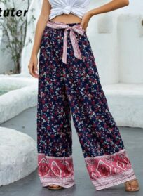 Summer Women Palazzo Floral Print Elastic High Waist And Sashes Long Wide Leg Pants And Loose Culottes Maxi Trousers